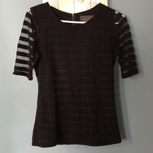 Anthropologie Black Striped and Sheer Shirt